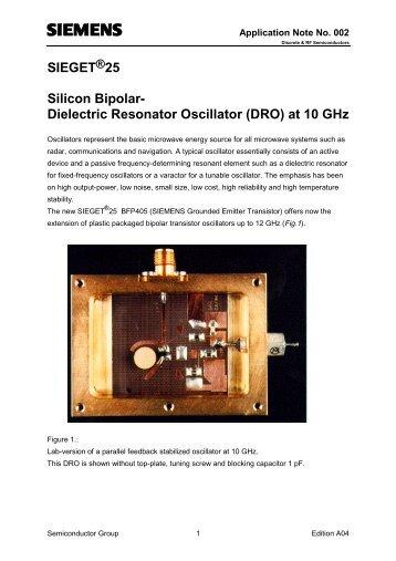 SIEGET 25 Silicon Bipolar- Dielectric Resonator Oscillator ... - SUNIST
