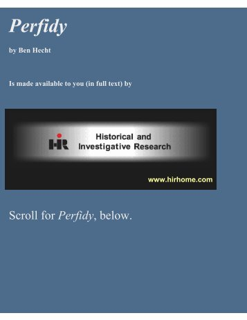 Perfidy - HiR Historical and Investigative Research