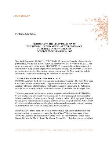 PERFORMA07 General Press Release