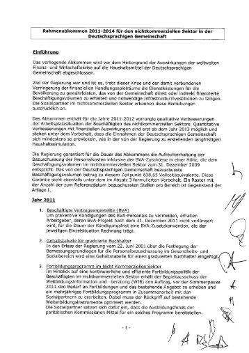 Rahmenabkommen 2011-2014 für den nichtkommerziellen Sektor ...