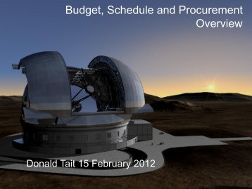 Budget, Schedule and Procurement Overview - FCT - Site