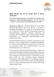 PRESSEMITTEILUNG MAGE SOLAR AG auf der Amper 2011 in ...