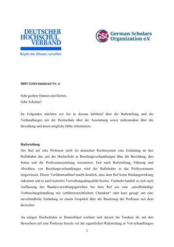 1 DHV/GSO-Infobrief Nr. 6 Sehr geehrte Damen und Herren, liebe ...
