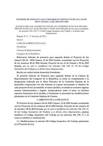 INFORME DE PONENCIA SEGUNDO DEBATE PROYECTO DE ...