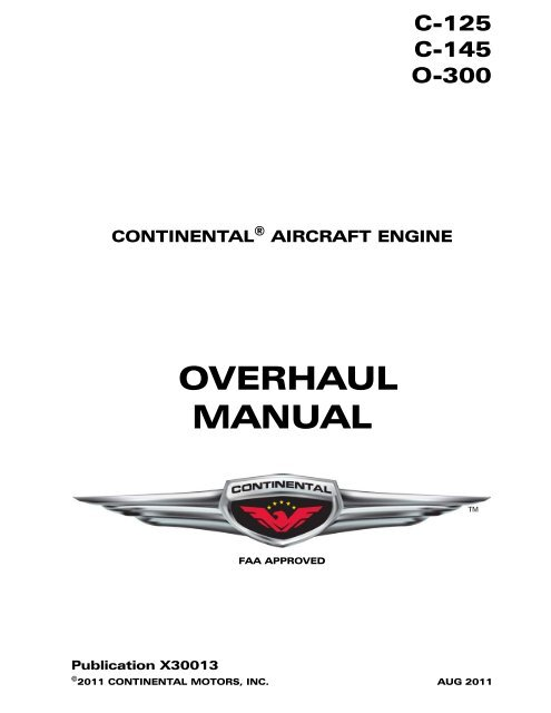 C-125, C-145 and O-300 Series Engine Overhaul Manual