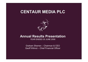 Presentation of Annual Results to June 2006 - Hemscott IR