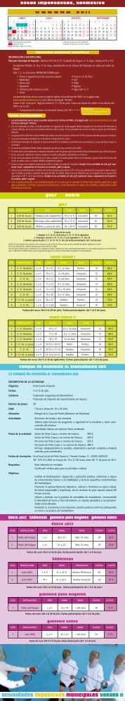 actividades deportivas municipales verano 11 - Ayuntamiento de ...