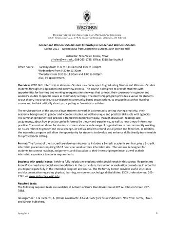 Internship in Gender and Women's Studies Spring