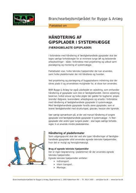 Hent Håndtering af gipsplader i systemvægge - BAR Bygge & Anlæg