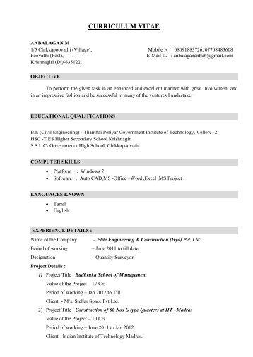 Curriculum Vitae International Journal Of Civil Engineering