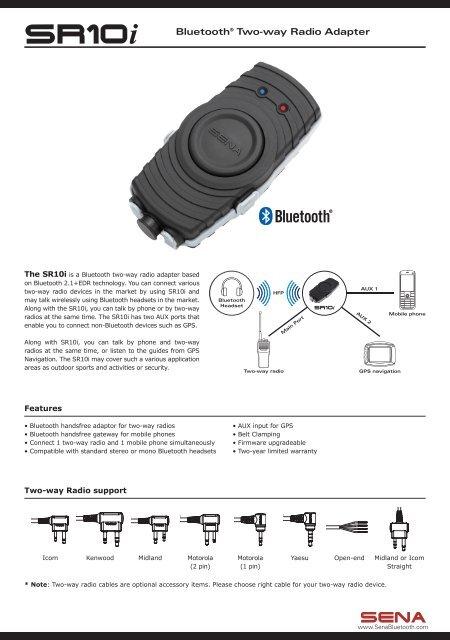 Sr10i Bluetootha Two Way Radio Adapter Sena Bluetooth