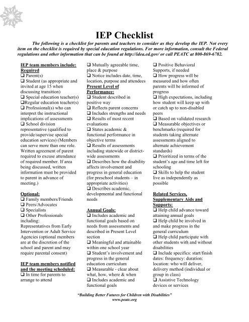 IEP Checklist pdf - PEATC