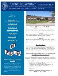 March 19 - Oldenburg Academy