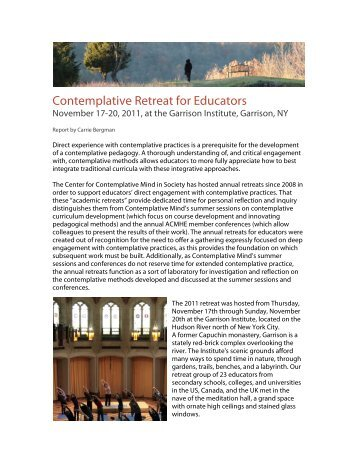 Report on the 2011 Contemplative Retreat for Educators
