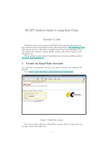 ECAP7 Authors Guide to using Easy-Chair