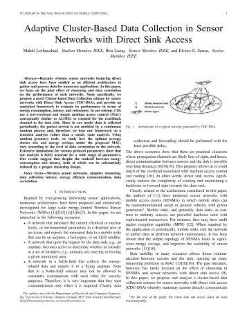 Adaptive Cluster-Based Data Collection in Sensor ... - CiteSeerX