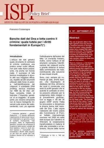 Banche dati del Dna e lotta contro il crimine: quale tutela per i ... - Ispi