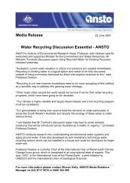 Media Release Water Recycling Discussion Essential - ANSTO - ainse
