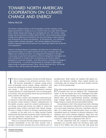 toward north american cooperation on climate change and energy