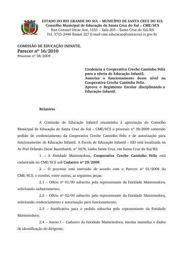 Parecer nº 16/2010 - Prefeitura de Santa Cruz do Sul