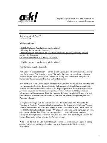Kolumbien-aktuell No. 379 / 18. März 2004 - ask! Arbeitsgruppe ...