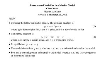 Instrumental Variables in a Market Model - Cemfi