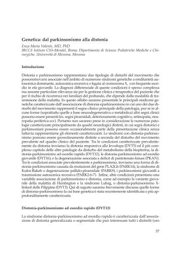 Genetica: dal parkinsonismo alla distonia - Limpe