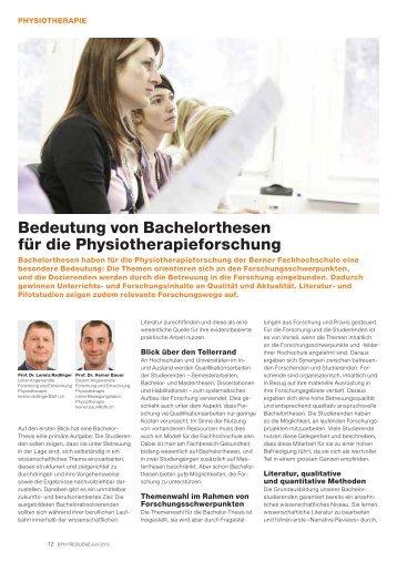 Bedeutung von Bachelorthesen für die Physiotherapieforschung