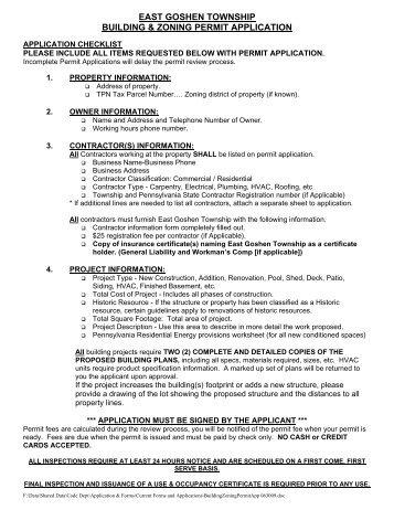 Building & Zoning Permit Application - East Goshen Township