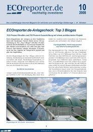 ECOreporter.de-Anlagecheck: Top 3 Biogas