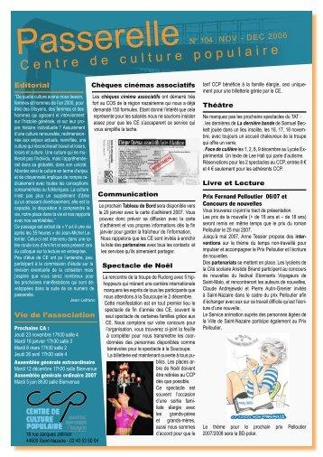 Passerelle nov-dec 2006 N° 104 - Centre de Culture Populaire