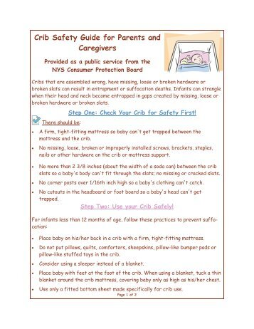 Crib Safety Guide for Parents and Caregivers - Consumer Protection ...