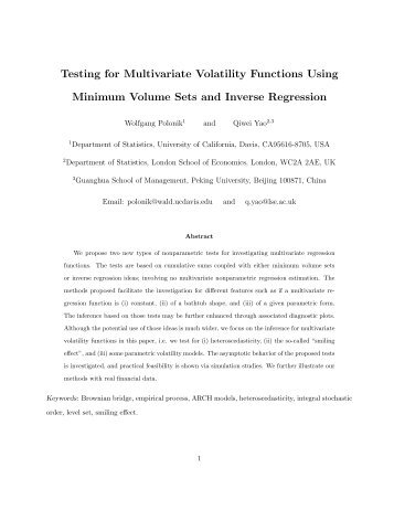 Testing for Multivariate Volatility Functions Using ... - LSE Statistics