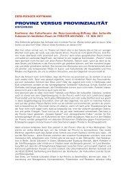 provinz versus provinzialität - DIE LINKE. Dr. Gerd-Rüdiger Hoffmann