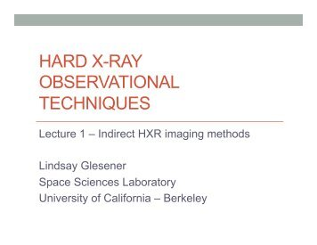 HARD X-RAY OBSERVATIONAL TECHNIQUES