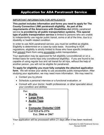 Application for ADA Paratransit Service - The County Connection