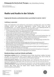 Radio und Audio in der Schule - Pädagogische Hochschule Thurgau