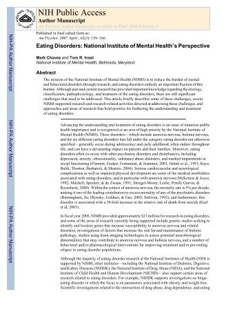 Eating Disorders: National Institute of Mental ... - Maudsley Parents
