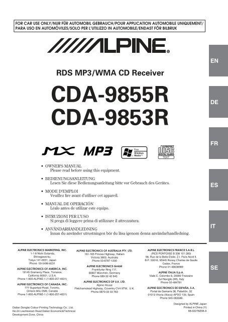 Alpine cda 9853r manual. Alpine cda 9853 9855 9856 9857 9881 9883.