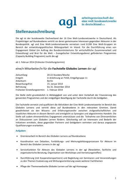 Stellenausschreibung Fachstelle Globales Lernen der agl - ELAN