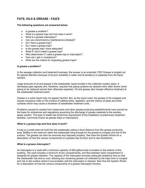 FATS, OILS & GREASE - FAQ'S - City of Bellevue