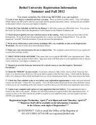 Bethel University Registration Information Summer and Fall 2012