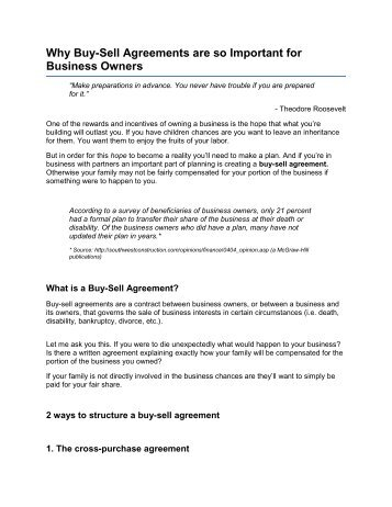 Buysell Agreements Criss Cross Purchase Method Rwglobal