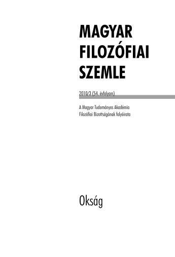 Magyar Filozófiai Szemle 2010.3