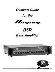 Owner's Guide for the Bass Amplifier - Ampeg
