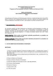 Edital 2013. - IGEO- Unicamp