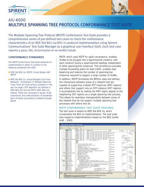 multiple spanning tree protocol conformance test suite - Spirent