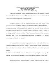 Program Notes for Virginia Symphony Orchestra Classics #11 - - 13 ...