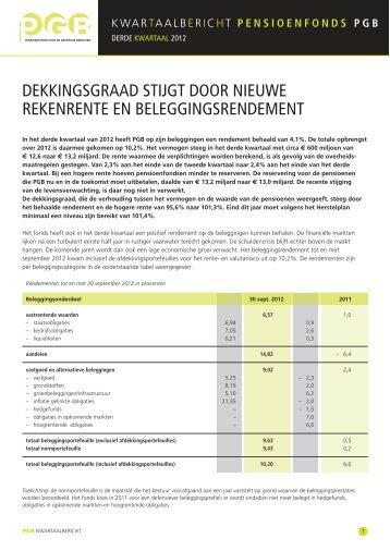 Derde Kwartaalbericht 2012 - PensioenfondsPGB