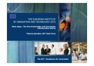 THE EUROPEAN INSTITUTE OF INNOVATION AND TECHNOLOGY ...